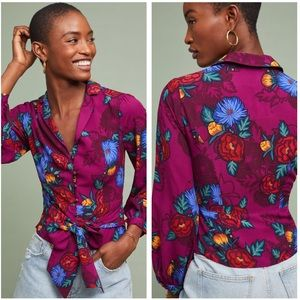 Anthropologie Maisie Purple Floral Blouse